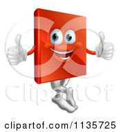 Clipart Of A Pleased Red Book Mascot Holding Two Thumbs Up Royalty Free Vector Illustration