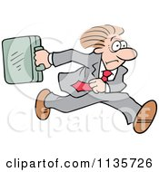 Cartoon Of A Late Businessman Running With A Briefcase Royalty Free Vector Clipart by Johnny Sajem