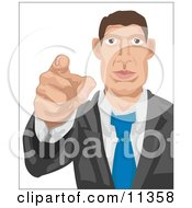 Caucasian Businessman Pointing Outwards Looking For Employees Clipart Illustration