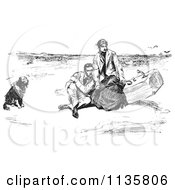 Clipart Of A Retro Vintage Couple And Dog On A Beach In Black And White Royalty Free Vector Illustration