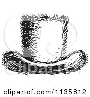 Clipart Of A Retro Vintage Top Hat In Black And White Royalty Free Vector Illustration by Picsburg