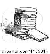 Clipart Of A Retro Vintage Stack Of Books In Black And White Royalty Free Vector Illustration by Picsburg