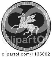 Clipart Of A Retro Vintage Black And White Emblazoned Greek Pegasus Shield Royalty Free Vector Illustration