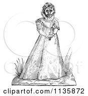 Clipart Of A Retro Vintage Fantasy Hairy Woman Maphoon Black And White Royalty Free Vector Illustration