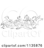 Clipart Of A Retro Vintage Battle Between Cranes And Pygmies Black And White 2 Royalty Free Vector Illustration