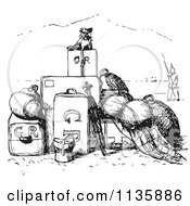 Clipart Of A Retro Vintage Little Dog With A Pile Of Luggage In Black And White Royalty Free Vector Illustration