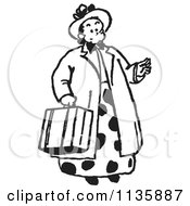 Cartoon Of A Retro Vintage Lady Carrying A Suitcase In Black And White Royalty Free Vector Clipart