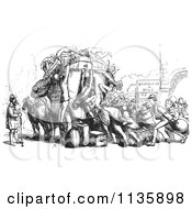 Clipart Of A Retro Vintage Crowd Attacking An Omnibus In Black And White Royalty Free Vector Illustration by Picsburg