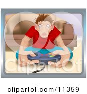 Addicted Man Playing A Video Game Clipart Illustration