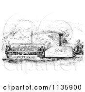Clipart Of A Retro Vintage Crowded Rhine Boat In Black And White Royalty Free Vector Illustration by Picsburg
