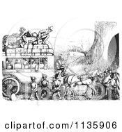 Clipart Of Retro Vintage Soldiers Stopping An Omnibus In Black And White Royalty Free Vector Illustration by Picsburg