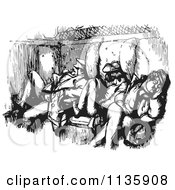 Clipart Of Retro Vintage Men Sleeping In A Train Car In Black And White Royalty Free Vector Illustration by Picsburg
