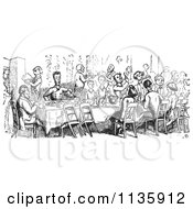 Retro Vintage Crowd Dining In Black And White