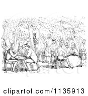Clipart Of Retro Vintage People In A Garden Cafe In Black And White Royalty Free Vector Illustration
