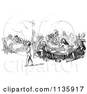 Clipart Of Retro Vintage Men Dining And Chatting In A Restaurant In Black And White Royalty Free Vector Illustration