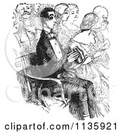 Clipart Of A Retro Vintage Man With Binoculars At The Opera In Black And White Royalty Free Vector Illustration by Picsburg