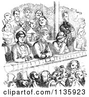 Clipart Of Retro Vintage People In A Theater In Black And White Royalty Free Vector Illustration by Picsburg