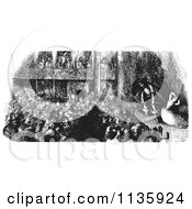 Clipart Of A Retro Vintage Crowd Watching A Pirate Play In Black And White Royalty Free Vector Illustration by Picsburg