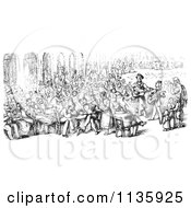 Clipart Of A Retro Vintage Crowd In Piazza San Marco In Black And White Royalty Free Vector Illustration by Picsburg
