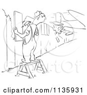 Clipart Of A Retro Vintage Worker Man Repairing A Fence As A Plane Crashes Through Another Section Black And White Royalty Free Vector Illustration by Picsburg
