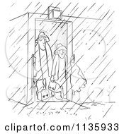 Clipart Of Retro Vintage Worker Men Contemplating Going Out In The Rain Black And White Royalty Free Vector Illustration
