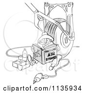Retro Vintage Airplane Assembly Worker Man Reading And Eating Lunch By A Wheel Black And White