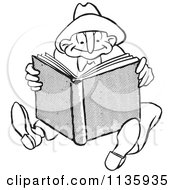 Clipart Of A Retro Vintage Man Reading A Book Black And White Royalty Free Vector Illustration