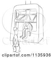 Retro Vintage Worker Man In A Machine Press Black And White