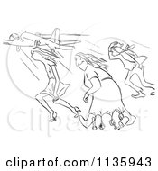 Clipart Of A Retro Vintage Creative Woman And Two Others In Strong Wind At The Airport Black And White Royalty Free Vector Illustration
