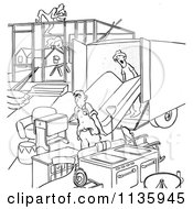 Clipart Of Retro Vintage Man Moving Into An Incomplete House Black And White Royalty Free Vector Illustration