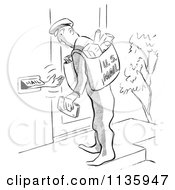 Clipart Of A Retro Vintage Person Reaching Out Of A Mail Slot To The Postal Worker Black And White Royalty Free Vector Illustration