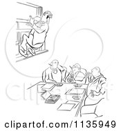 Clipart Of A Retro Vintage Office Worker Man Leaping Out A Window At A Meeting Black And White Royalty Free Vector Illustration