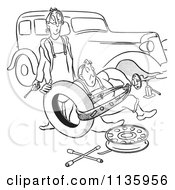 Clipart Of A Retro Vintage Man And Woman Struggling With Changing A Car Tire Black And White Royalty Free Vector Illustration