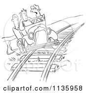 Clipart Of A Retro Vintage Late Driver Taking The Railroad Tracks Black And White Royalty Free Vector Illustration by Picsburg #COLLC1135958-0181