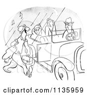 Clipart Of A Retro Vintage Morning Person Approaching A Car Pool Ride Of Grumpy People Black And White Royalty Free Vector Illustration by Picsburg