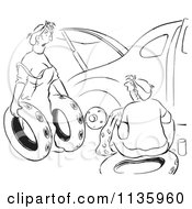 Clipart Of A Retro Vintage Woman Offering Ruined Spare Tires For Her Husband Car Black And White Royalty Free Vector Illustration