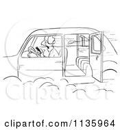 Clipart Of A Retro Vintage Man Smoking A Cigar In A Car With An Open Door Black And White Royalty Free Vector Illustration