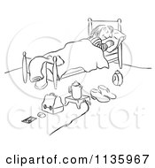 Clipart Of A Retro Vintage Organized Woman Sleeping With Everything Ready For Morning Black And White Royalty Free Vector Illustration