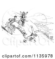 Retro Vintage Man Falling Off A Donkey In Black And White 1