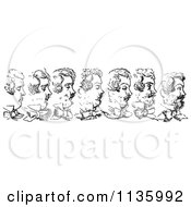 Clipart Of A Retro Vintage Mans Beard Growing In Black And White Royalty Free Vector Illustration