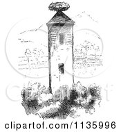 Clipart Of A Retro Vintage Stork Nest On A Tower In Black And White Royalty Free Vector Illustration