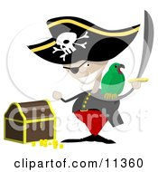 Pirate With A Sword Parrot And Treasure Chest Clipart Illustration