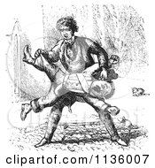 Clipart Of A Retro Vintage Man Beating Up A Guard In Black And White 2 Royalty Free Vector Illustration by Picsburg