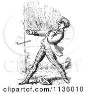 Clipart Of A Retro Vintage Man Defending A Dog In Black And White Royalty Free Vector Illustration