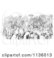 Clipart Of A Retro Vintage Crowded Pub In Black And White Royalty Free Vector Illustration