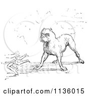 Clipart Of A Retro Vintage Guard Dog In Black And White Royalty Free Vector Illustration