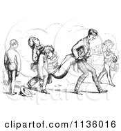 Clipart Of Retro Vintage Men Carrying Their Sleeping Friend In Black And White Royalty Free Vector Illustration by Picsburg #COLLC1136016-0181