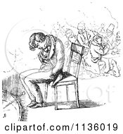 Clipart Of A Retro Vintage Man Sleeping In A Chair In Black And White Royalty Free Vector Illustration by Picsburg #COLLC1136019-0181