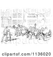 Clipart Of Retro Vintage Drunk Men On A Street In Black And White Royalty Free Vector Illustration