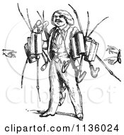Clipart Of A Retro Vintage Pipe Vendor In Black And White Royalty Free Vector Illustration